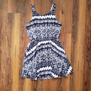 Blue and white dress with bow
